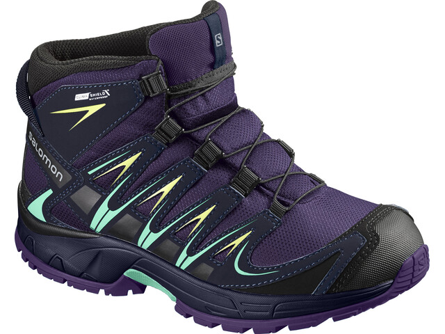 Salomon Junior Xa Pro 3D Mid CSWP Shoes Acai/Evening Blue/Biscay Green